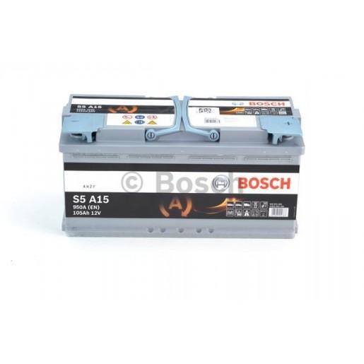 0092S5A150 BATERIE BOSCH S5A AGM 12V 105AH 950A 175X394X190  +DR